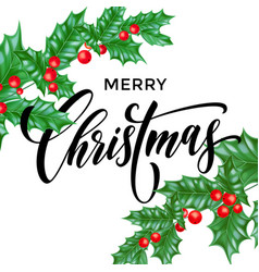 merry christmas holly branch calligraphy greeting vector image