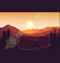 mountain landscape with deer and forest at sunset vector image