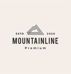 mountain line outline hipster vintage logo icon vector image