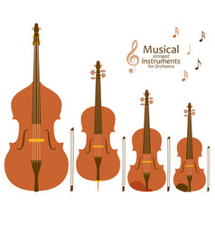Musical stringed instruments for orchestra vector