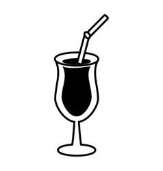 Outline cold cocktail glass alcohol vector