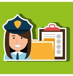 Police with folder and clipboard isolated icon vector
