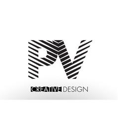 pv p v lines letter design with creative elegant vector image