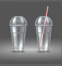realistic plastic cup transparent coffee vector image