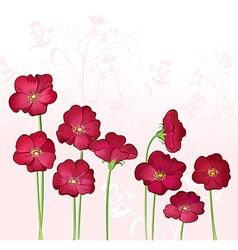 Red Growings Wild Flowers vector