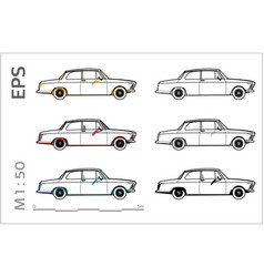 Retro old bmw car icons set for vector