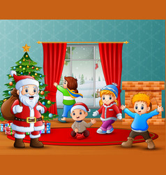 Santa claus and some kids celebrating a christmas vector