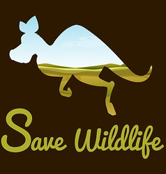 Save wildlife theme with kangaroo vector