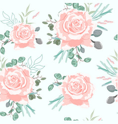 Seamless pattern with beige roses with herbs vector