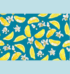 Seamless pattern with lemon citrus slices and vector