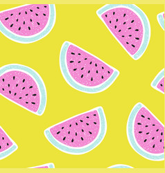 seamless pattern with watermelon in sketch style vector image