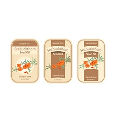 Set of labels for seabuckthorn seed oil vector image