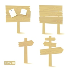 Set of light wooden signs and billboards vector image