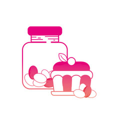 Silhouette candy almonds inside jar and cake vector