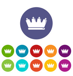 silhouette crown icons set color vector image