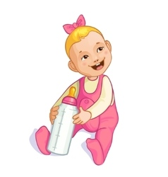 Smiling baby girl with bottle image eps10 vector image