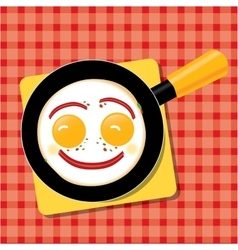 Smiling scrambled eggs with bacon in a pan for vector