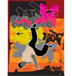 Stylized breakdance illustration vector