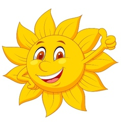 Sun cartoon character with thumb up vector image