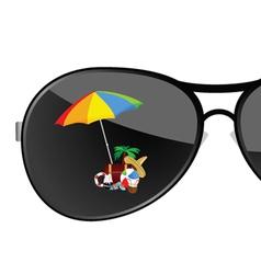 Sunglass with beach items art vector