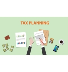 tax planning with businessman hand on paper vector image