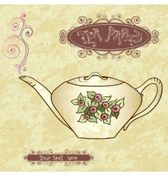 Tea party invitation card template vector image