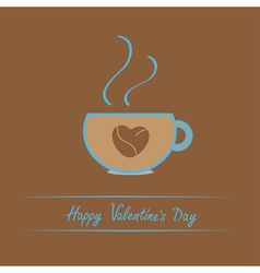 Teacup with coffee seeds heart Valentines day vector