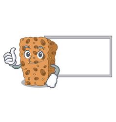 Thumbs up with board granola bar character cartoon vector