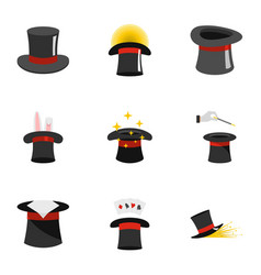 Topper icons set flat style vector