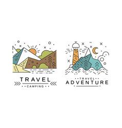 travel logo original design set adventures and vector image