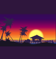 tropical palm tree seaside sunset landscape vector image
