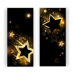 Two banners with gold stars vector image