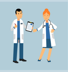 Two doctors characters in a white coats standing vector