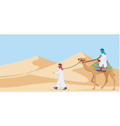 two guy riding and walking their camel trough vector image
