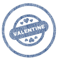 valentine stamp seal rounded fabric textured icon vector image