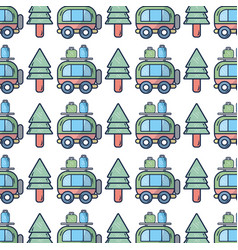 Van with bags and pine tree to travel vector
