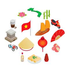 vietnam icons set isometric 3d style vector image