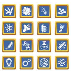 virus bacteria icons set blue square vector image