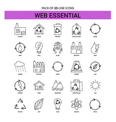 Web essential line icon set - 25 dashed outline vector