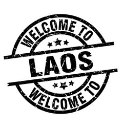 welcome to laos black stamp vector image