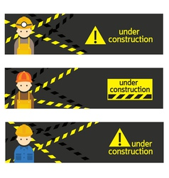 Worker craftsman with under construction banner vector