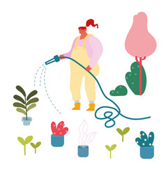 young woman watering potted domestic plants from vector image