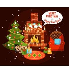 Christmas Holiday Fireplace vector image vector image