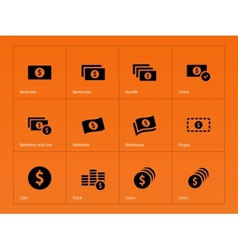 Dollar Banknote icons on orange background vector image vector image