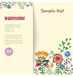 Flower arrangements watercolor Greeting card with vector image