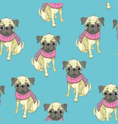 french bulldog seamless pattern dog vector image