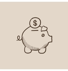 Piggy bank with dollar coin sketch icon vector image