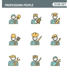 Professional business people line avatars vector image