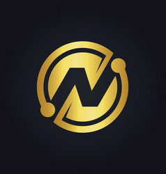 round abstract gold letter n logo vector image