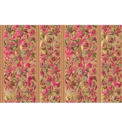 Seamless pattern with vertical stripes and floral vector image vector image